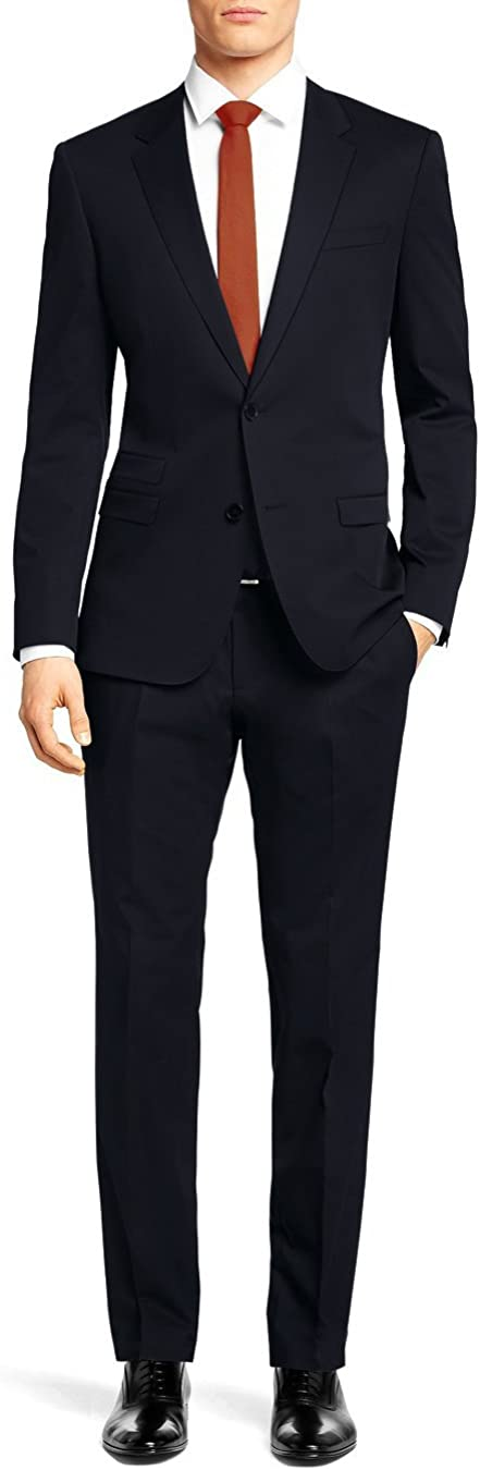 Nicoletti Men's Two Button Stretch Slim Fit Suit Ticket Pocket Jacket with Pant