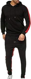 Men Long Sleeve Hooded Sweatshirt Set Jogging Tracksuit Gym Joggers Set Top