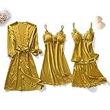 SDCVRE Conjunto de Pijama Conjunto de Pijamas de 5 Piezas para Mujer, camisón de Dormir de Encaje de satén, camisón caseroV-Neck Bathrobe Spring Wear Robe Gown Suit Sleepwear,Dark Yeelow Set, C