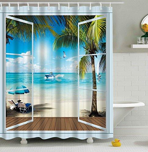 Aonewoe 3d Shower Curtain Vivid Sandy Beach Scenery Polyester Waterproof Bathroom Curtain 180 x 180 cm(71x71inches)