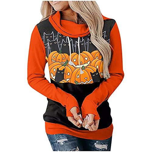 Bestyyo Sudadera de manga larga de Halloween para mujer con costuras impresas sueltas blusa Q91067, naranja, M
