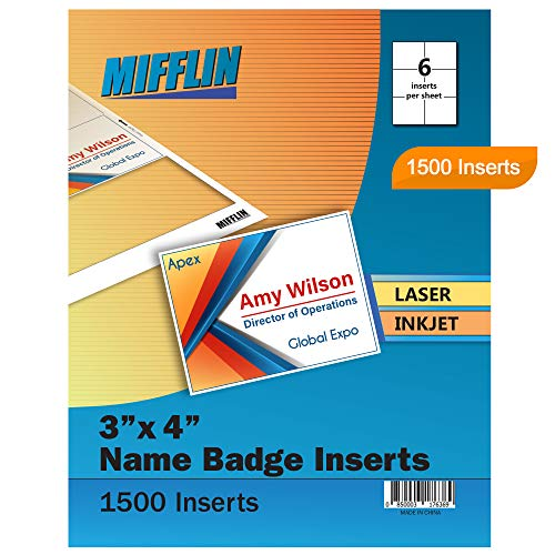 """Mifflin Name Badge Inserts, 3""""x4"""" or 4""""x3"""" Badge Inserts (1500 Cardstock Refills, 250 Sheets), Compatible with Inkjet, Laser Printer, and Printable Badge Inserts"""