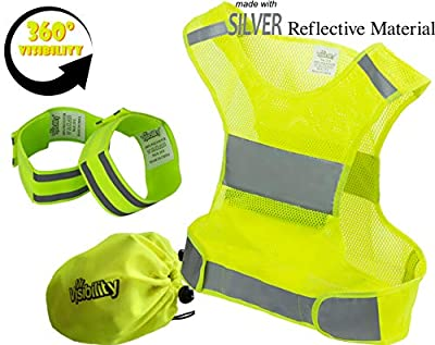 Reflective Vest Running Gear | Reflector Bands + Bag | Made of Top Silver Reflective Tape High Visibility for Running, Cycling, Dog Walking | Safety Vest with Pockets, Adjustable & Ultralight, Size S