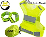 Reflective Vest Running Gear | Reflector Bands + Bag | Made of Top Silver Reflective Tape High Visibility for Running, Cycling, Dog Walking | Safety Vest with Pocket, Adjustable & UltraLight, Size XXL