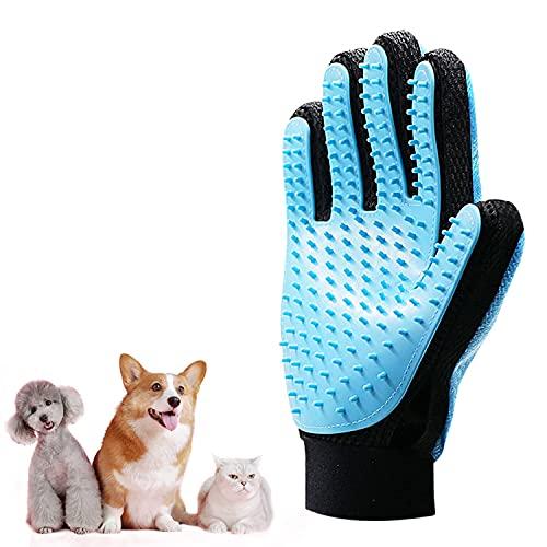 GPODER Haustier Bürsten Handschuh, Massagehandschuh für Hunde & Haarentferner für Möbel, Fellpflege Handschuh für Lange Kurz Haar Katze, Hunde, Kaninchen, Pferde(Doppelseitiger-Rechte Hand Handschuh)