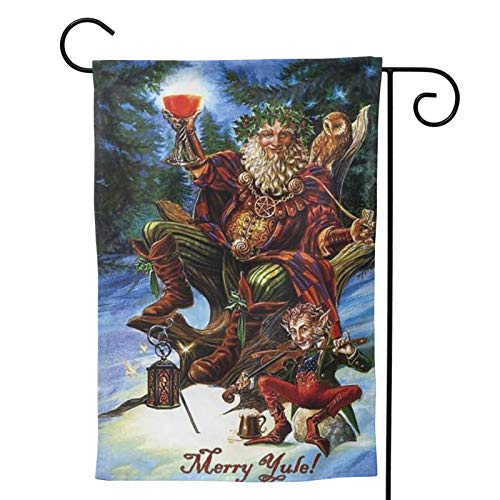 MINIOZE Yule Merry Christmas Yuletide Pagan Party Themed Flag Welcome Outdoor Outside Decorations Ornament Picks Garden Yard Decor Double Sided 12.5X 18 Flag