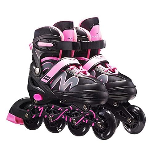 Tianbi Inline Skates Für Kinder Erwachsene 8 LED Blinkt Räder 26-42 Einstellbar Schuh Größe ABEC-7 Lager Fitness Skates Rollschuhe für Jungen Mädchen Anfänger
