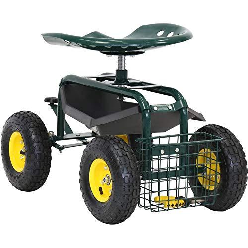 Kinsunny Rolling Scooter Garden Stool Cart with Tool Storage Basket & Swivel Seat Heavy Duty Gardening Planting