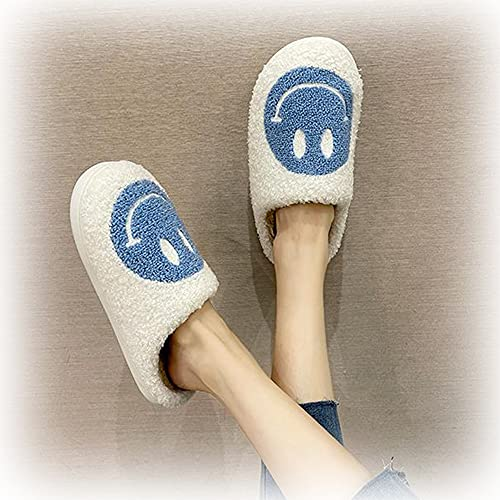 KKASOE Smiley Face Plush Fluffy Slippers, Memory Foam Cute Cartoon Non Slip Indoor Furry Warm House Shoes for Women And Men (Blue White,UK 5 6)