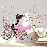 RomáNtico Rosa Flor Mariposa Cuento De Hadas NiñA Montando Flor Bicicleta CalcomaníAs De Pared Removibles, CalcomaníAs De Pared Con Pegamento Decorativo De Bricolaje Para NiñOs HabitacióN Infantil