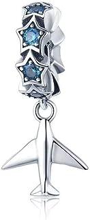 Charm in argento, adatto per bracciale o braccialetto fai da te spaziale viaggio astronave fascino aereo blu terra perline...