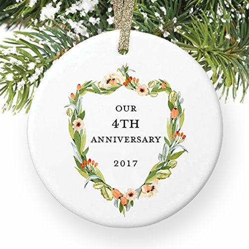 Rutehiy Ornament Dekorationen 4. Hochzeitstag vierten Weihnachten Hochzeit 4Jahre zusammen Paar Mann & Frau Jahrestage Geschenk Weihnachtsbaum Geschenk Idee