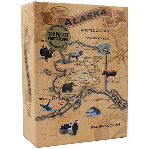 ARCTIC Circle Alaska – Álbum de Fotos (tamaño pequeño, 100 Bolsillo), diseño de Mapa clásico