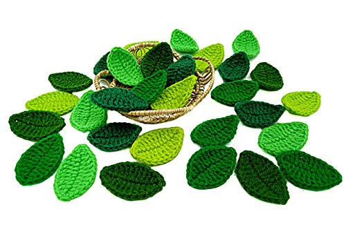 NAVA CHIANGMAI Handmade Crocheted Flowers Leaves Artificial Decorative Embellishment Scrapbook Craft Card DIY Cotton Yarn Appliqu Scrapbooking Wedding Doll House Supplies Card. (Mixed Green Leaves)