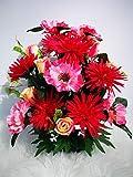 Roselynexpress - Composición de flores artificiales de alisado totalmente cemento para una perfecta celebración al aire libre. Realizada por nuestros cuidados. Flores de calidad. Tamaño: 44 x 44 cm.