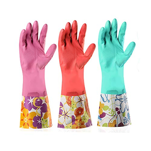Dishwashing Rubber Gloves 3 Pairs, Aixingyun Non-Slip Household Laundry Kitchen Cleaning Gloves, Reusable PU Waterproof Latex Gloves Gift for Mom (Large, 3 Pairs)