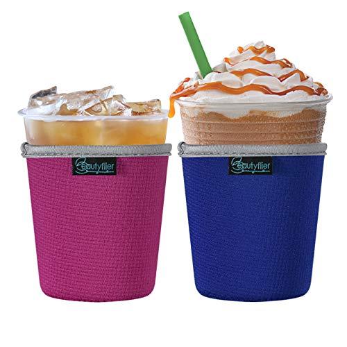 Beautyflier 2 Stück isolierte Neopren-Eiskaffee-Hüllen Anti-Rutsch-Tassenhalter für kalte Getränke, Starbucks Kaffee, McDonalds, Dunkin Donuts (blau und pink), klein (453-510 ml))