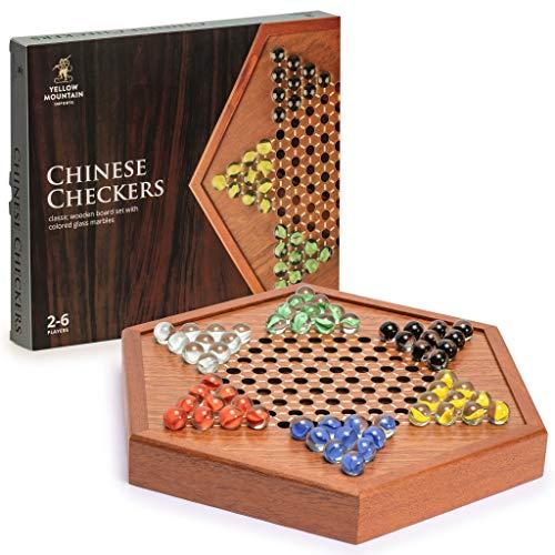 Yellow Mountain Imports Hölzernes Chinesisches Dame Halma Brettspiel-Set mit Schubladen und Bunten Glasmurmeln - 32,2 Zentimeter