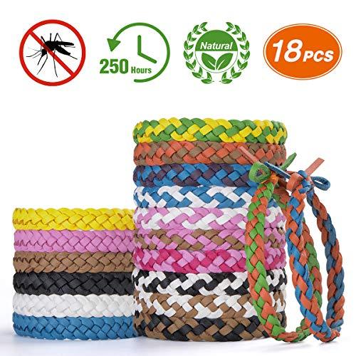Homtiky Bracelets Anti Moustique Enfant, Répulsifs à Moustiques Matériau Naturel 100% Durant 250 Heures 18 Pièces, Extérieure Intérieure Camping Radonnée, sans DEET
