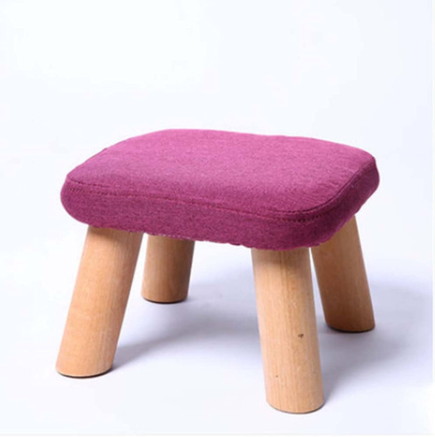 ZHANGRONG- Stool Round Stool Solid Wood Fashion Square Stool Home Coffee Table Stool Cloth Sofa Stool (a Variety of Styles Optional) (color   D)