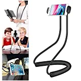 Cellet Lazy Neck Tablet & Smart Phone Holder 360 Rotating Mount Compatible with iPhone 12 Pro Max Mini 11 XS XR X, iPad Mini, Samsung Note 20 10 9 Galaxy S21 S20 S10, Watch Youtube, Netflix (PHNEC)