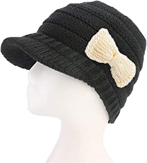 55ba29f0fd6 Women Winter Warm Hat Knitted Pearl Bow Beret Outdoor Ski Hat with Visor