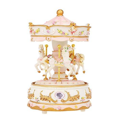 Docooler Mini Karussell Uhrwerk Spieluhr Bunte LED Merry-go-Round Spieluhr Geschenk für Freundin Kinder Kinder Weihnachten Festival blau