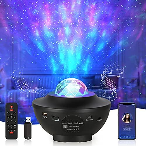 Opard LED Sternenlicht Projektor Sternenhimmel Rotierende Wasserwellen Projektionslampe, Kinder Nachtlicht Baby Sterne Lampe mit Fernbedienung/Bluetooth/Timer für Kinder Erwachsene Zimmer