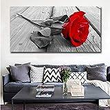 ganlanshu Cuadro En Lienzo Cartel de Rosa roja y decoración del hogar de la Sala de estar50x100cmPintura sin Marco