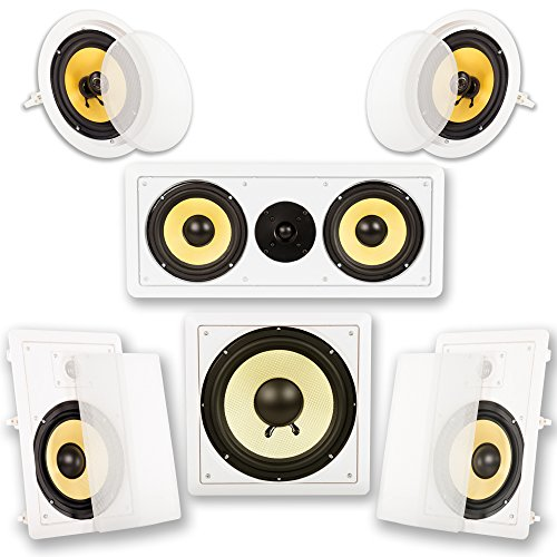"""Acoustic Audio by Goldwood Acoustic Audio HD518 In-Wall/Ceiling Home Theater 8"""" Surround 5.1 Speaker System, White"""