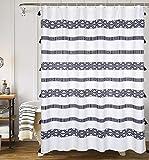 YoKii Tassel Fabric Shower Curtain, Black and Cream Stripe Print Boho Polyester Bath Curtain Set with Hooks, Decorative Spa Hotel Heavy Weighted 72-Inch Bathroom Curtains, (72 x 72, Black and Cream)