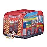 Relaxdays Spielzelt Feuerwehr, Pop up Kinderzelt mit Automotiv, für Drinnen und Draußen, 70x110x70...