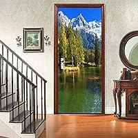 Lake 3Dドアステッカー、アートホームデコレーション用PVC壁画デカール30.3x78.7(77x200cm)