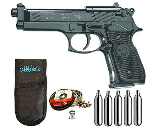 Outletdelocio.. Pistola perdigon M92FS Co2 4,5mm. Full Metal + Funda Portabombonas + Balines + Bombonas co2. 23054 29318 38203