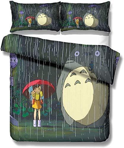 YOMOCO Tonari no Totoro - Juego de ropa de cama con diseño de Mi vecino Totoro (2/3 piezas, funda de edredón/fundas de almohada/sábana para niños, chicos y chicas (A03, 140 x 210 cm)