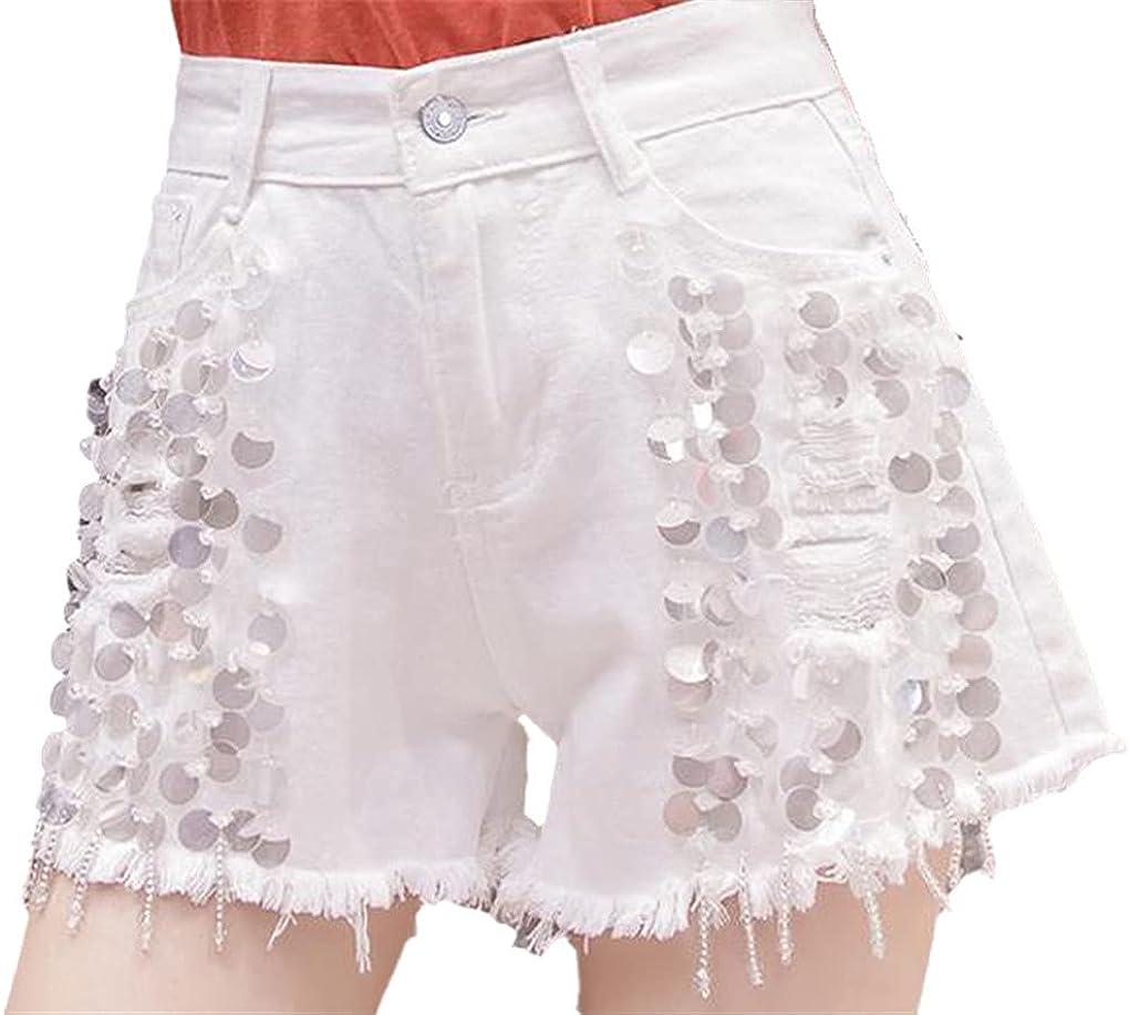 Womens High Waisted Tassel Beading Glitters Women Sequin Wide Leg Denim Shorts