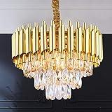 Suspension en cristal 3 niveaux lustre en cristal luminaire rond moderne lustre en or encastré éclairage de plafond pour salon salle à manger chambre restaurant, 5x prise E14