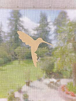 Retractable Screen Door Decals - 5 per Package - Keep Children Safe - Alert Birds Dogs Kids - Warn Protect Window Safety - Hummingbirds  White