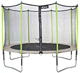 Kangui - Trampoline de Jardin 365 cm + Filet de sécurité JUMPI Taupe/Vert 360. Trampoline certifié par Le CRITT Sport & Loisirs
