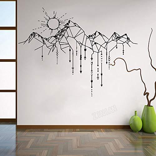 Kreative abstrakte geometrische Linie Pfeil Berg Sonnenuntergang Landschaft Wandaufkleber DIY Vinyl Aufkleber Schlafzimmer Wohnzimmer Hauptdekoration Kunst Wandplakat