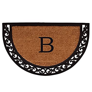Home & More 100102436B Ornate Scroll Doormat, 24  x 36  x 1 , Monogrammed Letter B, Natural/Black