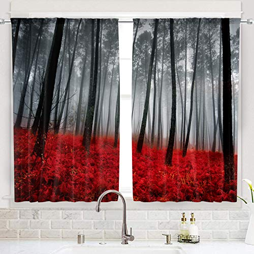 Cinbloo Black and Red Forest Kitchen Curtains Rod Pocket 55(W) x 39(L) Inch Tree Women Men Mysterious Nature Foggy Scene Floral Modern Art Short Design Print Window Drapes 2 Panel Set