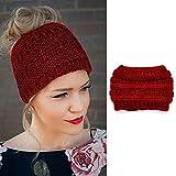Zoestar Diadema de punto de invierno calentador de orejas, bufanda de ganchillo trenzada, gorro de lana para cola de caballo al aire libre, banda de pelo para mujeres y niñas (rojo vino)