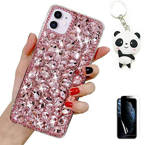 Artfeel Glitter Coque pour Samsung Galaxy S21 Ultra 5G,Bling Brillant Transparent Diamant Étui Fille Femme Paillettes Cristal Strass Housse avec Porte-clés Panda Mignon et Protecteur d'écran,Rose