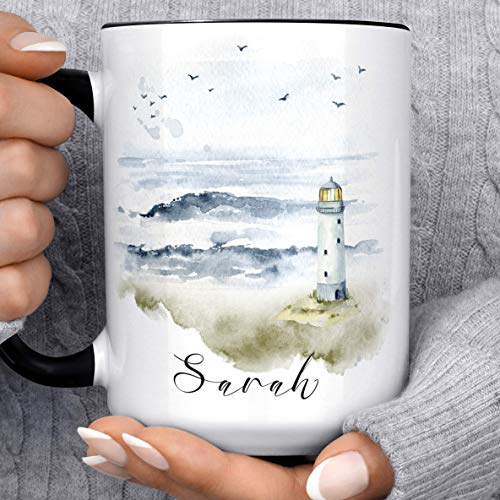 Watercolor Coastal Lighthouse Scene Personalized Ocean Coffee Mug | Custom Name Microwave Dishwasher Safe Ceramic Cup