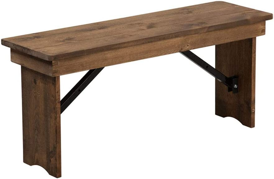 Offex 40'' x Ranking TOP10 12'' Antique 5 popular Rustic Pine Solid Folding Farm Dining