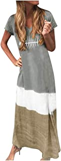 Women Summer Maxi Dress, Ladies Plus Size Tie-dyed Printed Short Sleeve Party Long Dress
