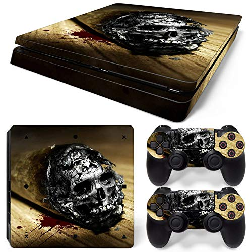 Mcbazel Pattern Series Vinyl Skin Sticker For PS4 Slim Controller & Console Protect Cover Decal Skin (Yellow Skull)