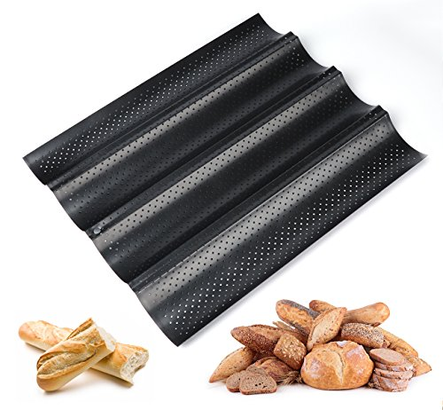 ilauke Baguetteblech Baguette Backblech Baguetteform mit Antihaftbeschichtung für Backen (4 Fach), Karbonstahl