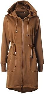 Leomodo Drawstring Waist Hooded Zipper Long Sleeve Pocket Coat